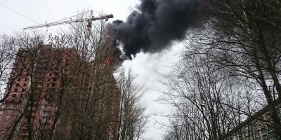 ЖК Звезда, стоб дыма, пожар