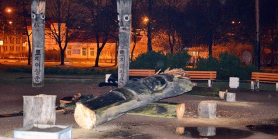 Спилили идолов в парке Сосновка