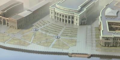 Вид на будущий театр со стороны набережной