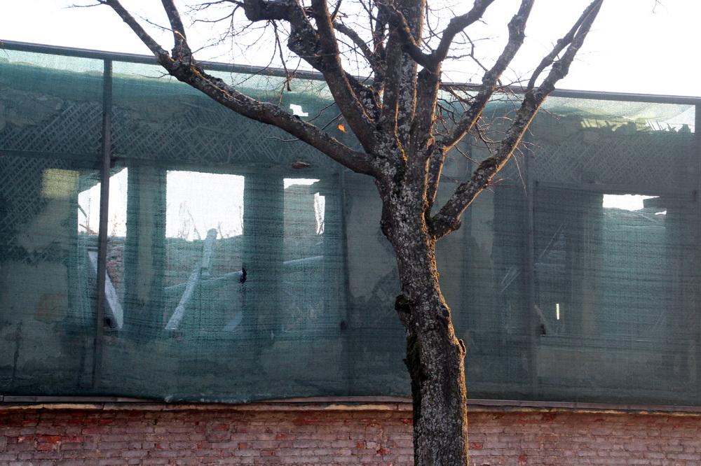 Пушкин, казарма на Павловском шоссе после пожара