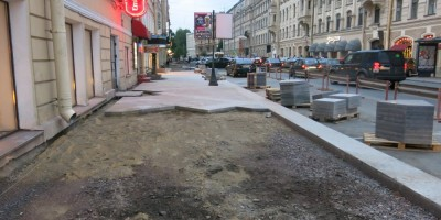 Ремонт тротуаров на улице Маяковского