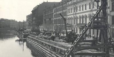 Ремонт стенки набережной Фонтанки в 1955 году