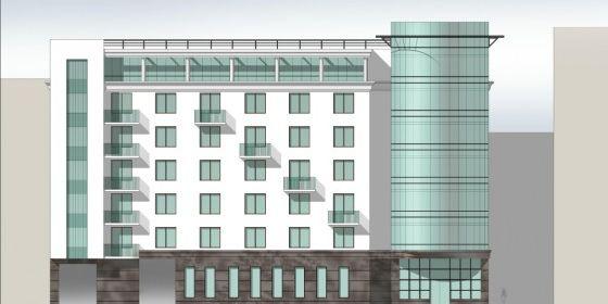 Уличный фасад апарт-отеля на 8-й линии, 77
