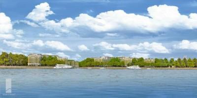 Жилой комплекс на Петровском острове, вид с Малой Невы