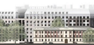 Многопрофильная клиника ВМА, вид с Большого Сампсониевского