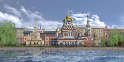 Проект воссоздания Скорбященской церкви на проспекте Обуховской Обороны с Невы