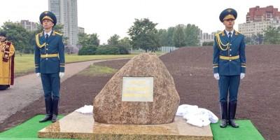 Закладной камень памятника пожарным на Бухарестской