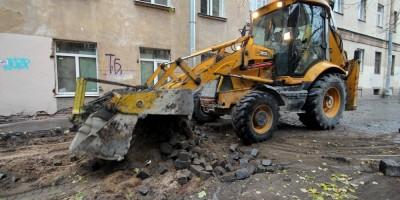 Улица Репина, капитальный ремонт, брусчатка, бульдозер