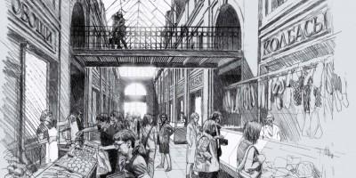 Торговые ряды в Апраксином дворе