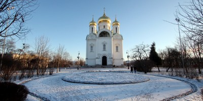 Пушкин, Соборная площадь, круглая клумба