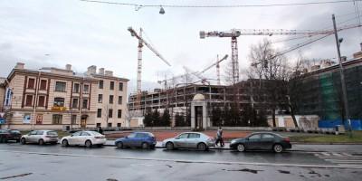 Строительство многопрофильной клиники ВМА, площадь Военных Медиков