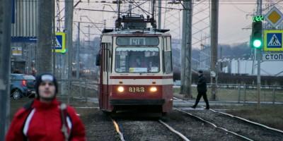 Трамвай № 41 на Петергофском шоссе