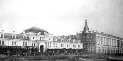 Набережная Фонтанки, торговые ряды и Воскресенская церковь