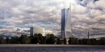 Октябрьская набережная, проект бизнес-центра, Нева