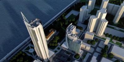 Октябрьская набережная, проект бизнес-центра, вид с высоты