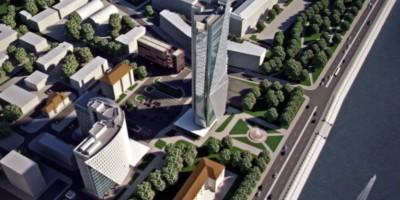 Октябрьская набережная, проект бизнес-центра, вид сверху