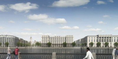 Судебный квартал на проспекте Добролюбова, фасад с Малой Невы