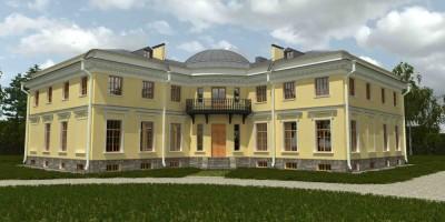 Уткина дача, главный дом, задний фасад, проект