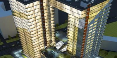 Проспект Энергетиков, дом 4, корпус 1, офисно-жилой комплекс, ночь