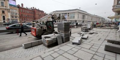 Лиговский проспект, реконструкция тротуара