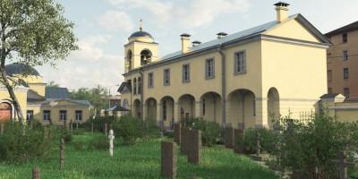 Часовня со стороны Большеохтинском кладбища, памятники