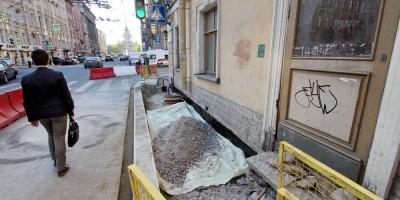 Малая Морская улица, реконструкция тротуаров на Гороховой