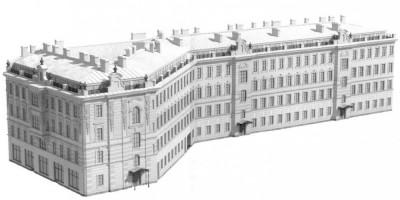 Проект мансарды на Сенной площади, вид с Садовой улицы