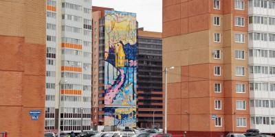 Горелово, улица Коммунаров, дом 190, граффити Зимний пейзаж Василия Кандинского