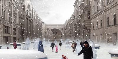 Большая Морская, зима, проект пешеходной зоны