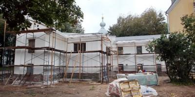Смольная набережная, флигель, ремонт, задний фасад