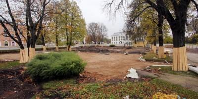 Петергоф, ремонт сквера на Торговой площади