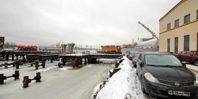 Строительство Серного моста, остров Декабристов