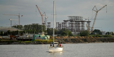 Стройка стадиона на Крестовском