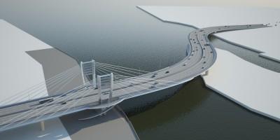 Проект моста у Серного острова, вид сверху