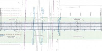 Схема путепровода, Оборонная улица, Колпино