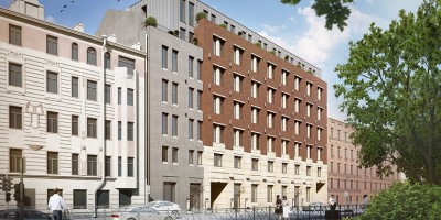 Жилой комплекс, фасад вдоль Большой Зелениной улицы