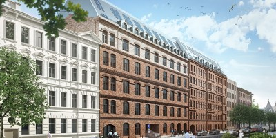 Жилой комплекс, фасад вдоль Корпусной улицы