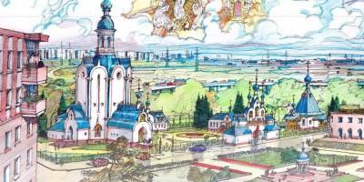 Православный комплекс в Шушарах, рисунок Бориса Костыгова