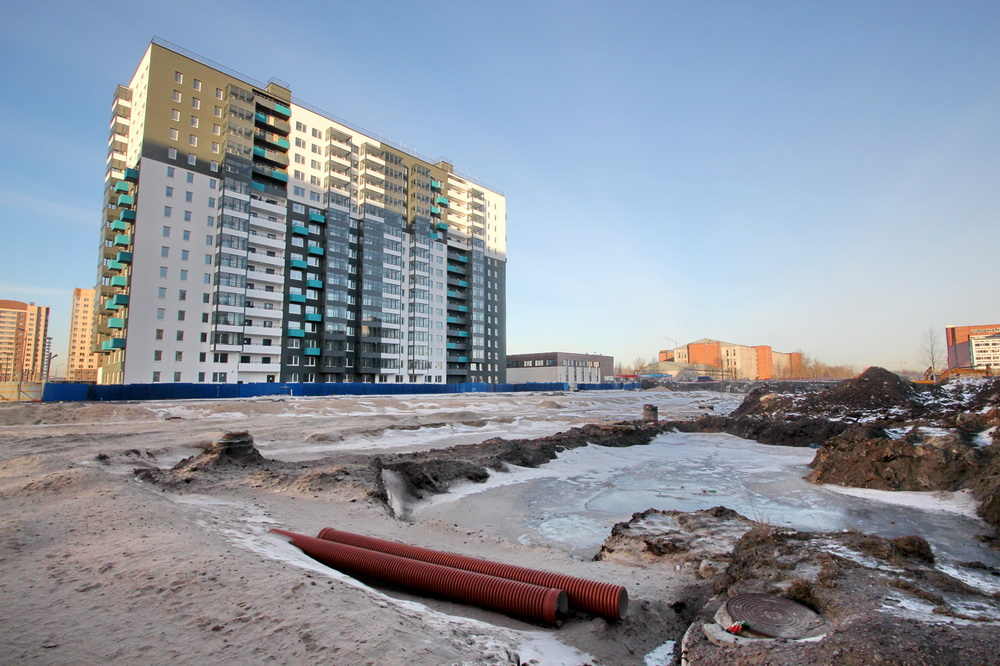 Строительство Союзного проспекта, земляные работы