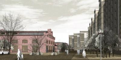 Жилой комплекс на Свердловской набережной, вид с набережной, памятники