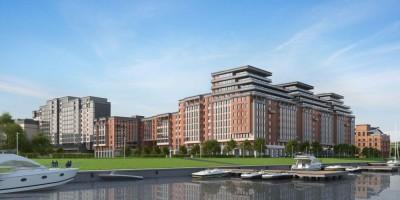 Проект жилого комплекса на Перевозной набережной, вид с Невы