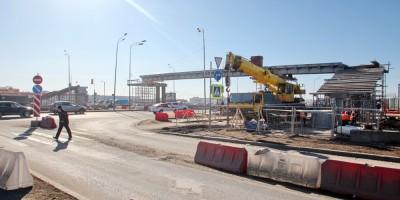 Пулковское шоссе, строительство пешеходного перехода