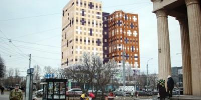 Гостиница, вид от метро Кировский завод