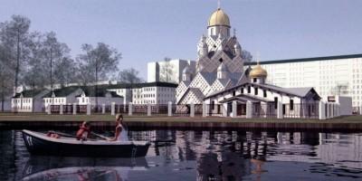 Колпино, проект собора на улице Анисимова, вид с Ижорского пруда