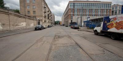 Дегтярный переулок, трамвайные рельсы