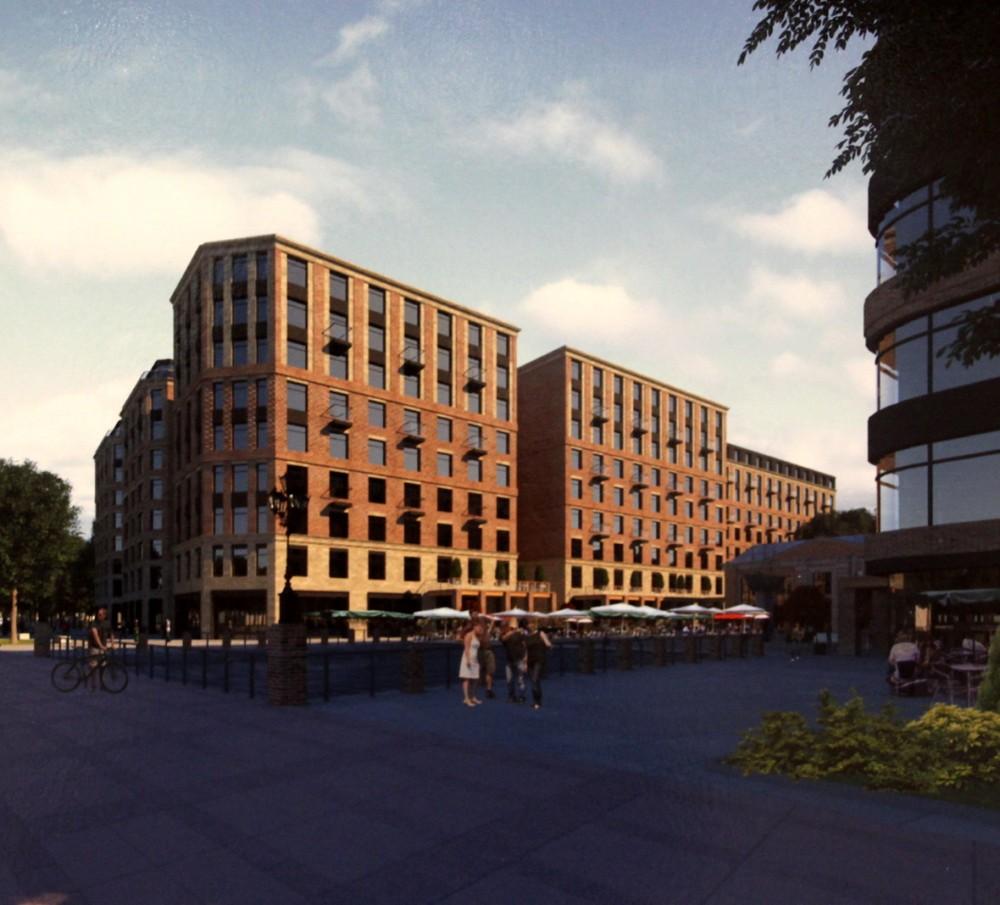 Петровская коса, 7, жилой комплекс, вид с проезжей части