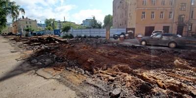 Дегтярный переулок, демонтаж трамвайных путей