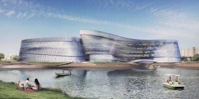 Проспект Славы, проект океанариума в парке Интернационалистов, вид с воды