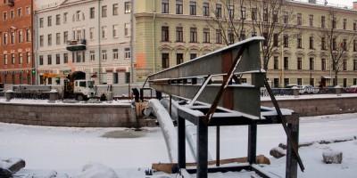 Сенной мост после сноса, теплотрасса