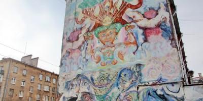 Малый проспект Васильевского острова, рисунок Будды на брандмауэре